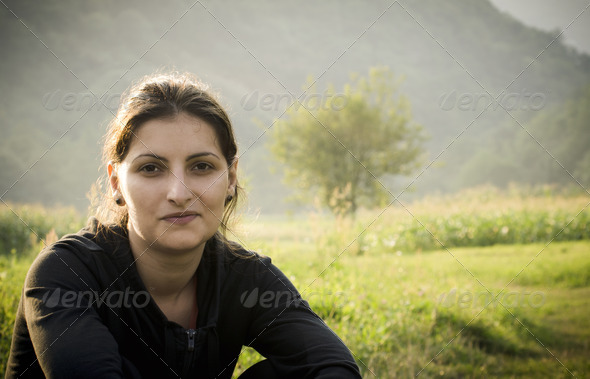 Young woman relaxing outdoor - Stock Photo - Images