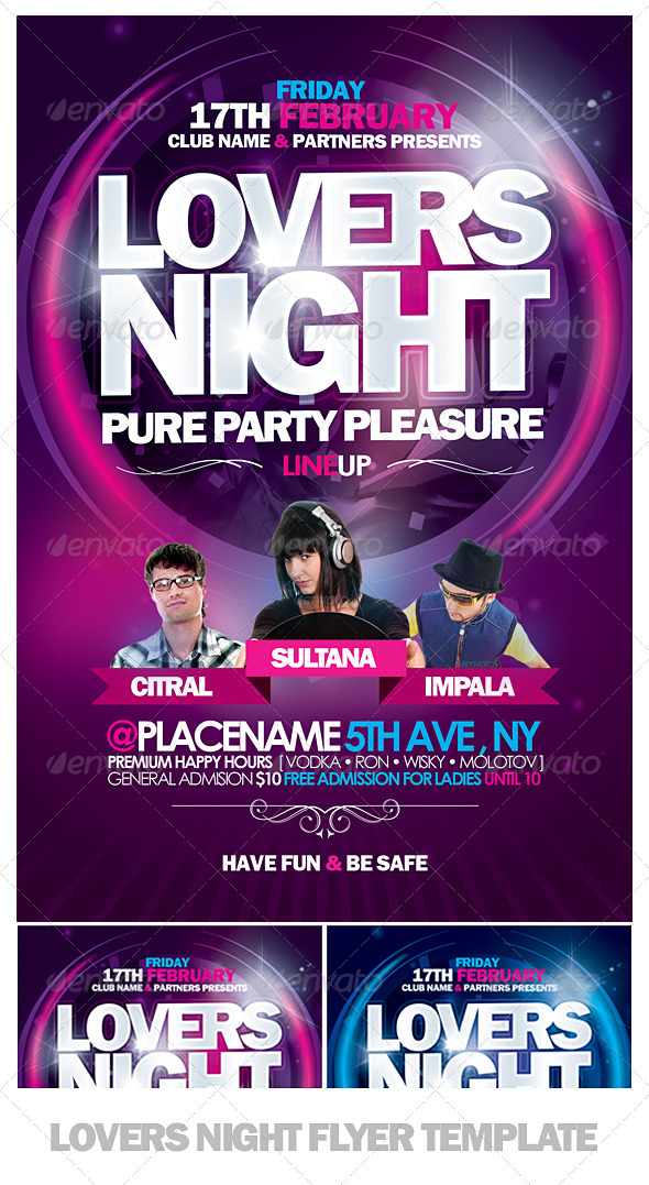 Lovers Night Flyer Template - Clubs & Parties Events