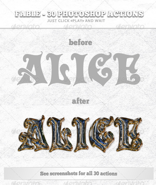 Fable - 30 Photoshop Actions - Text Effects Actions