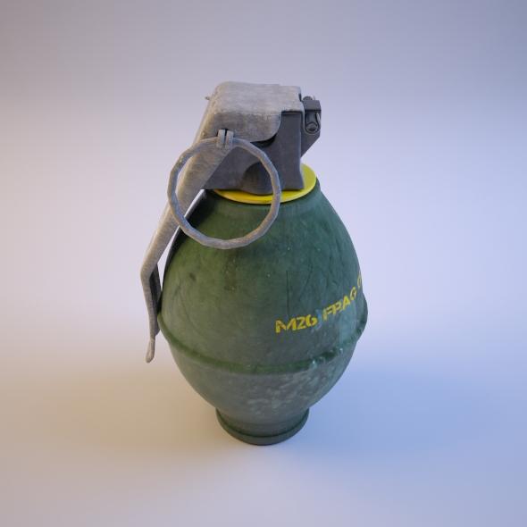 3DOcean Hand Grenade M26 Frag Grenade 76669