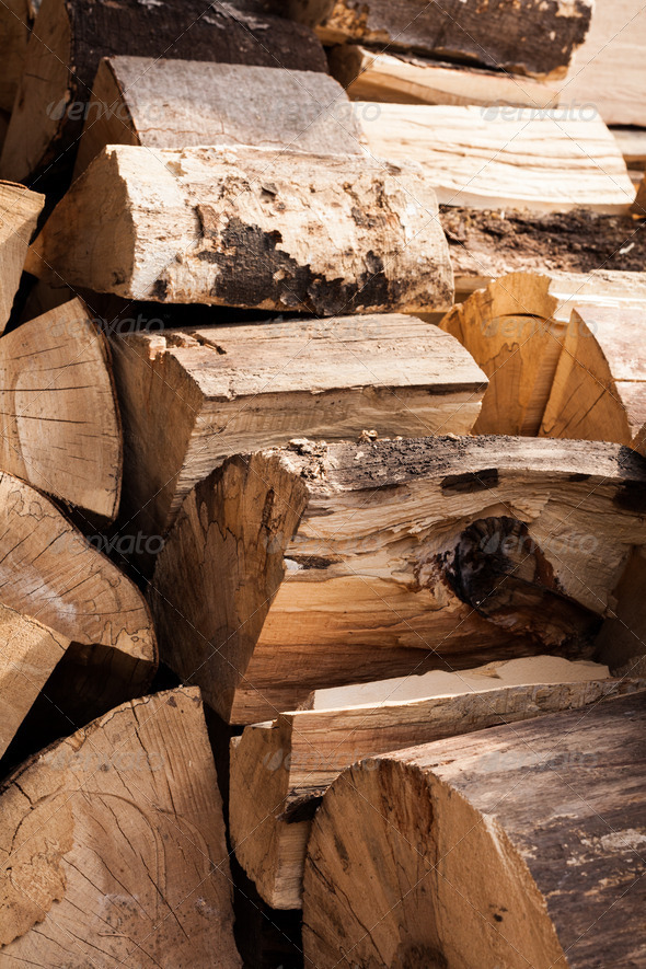 Wood split and chopped - Stock Photo - Images