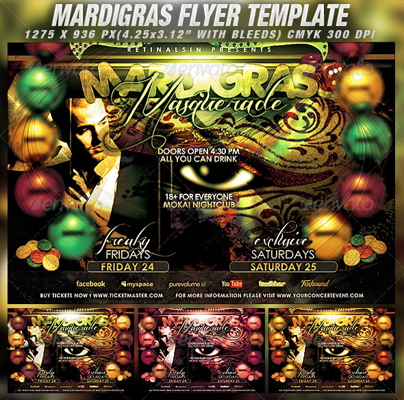Mardigras Masquerade Flyer Template - Clubs & Parties Events
