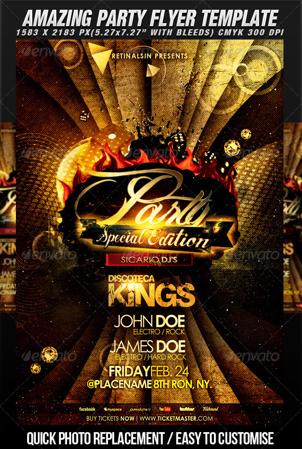 Amazing Party Flyer Template - Clubs & Parties Events