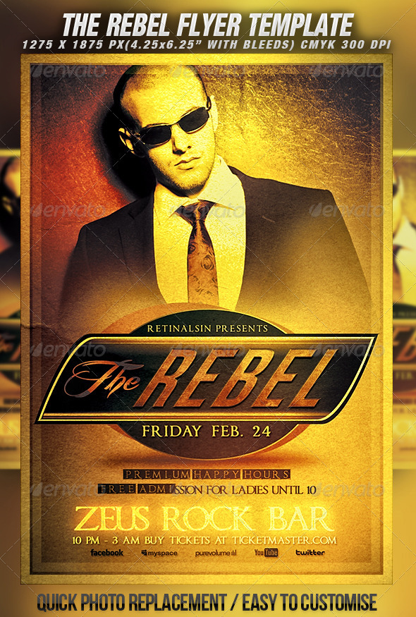 The Rebel Flyer Template - Clubs & Parties Events