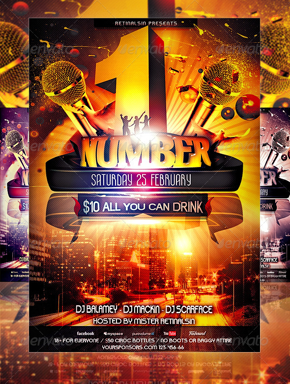 NumberOne Party Flyer Template - Clubs & Parties Events