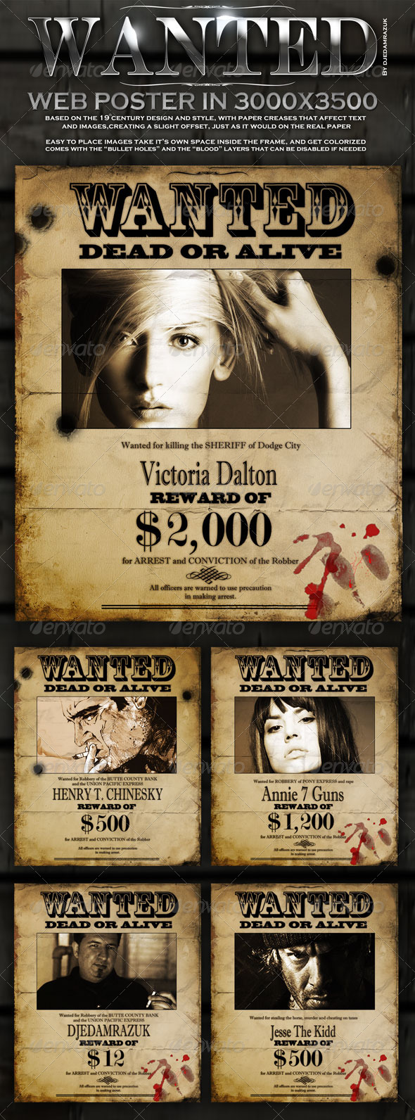 Old &quot;Wanted&quot; Poster - Editable - Miscellaneous Graphics