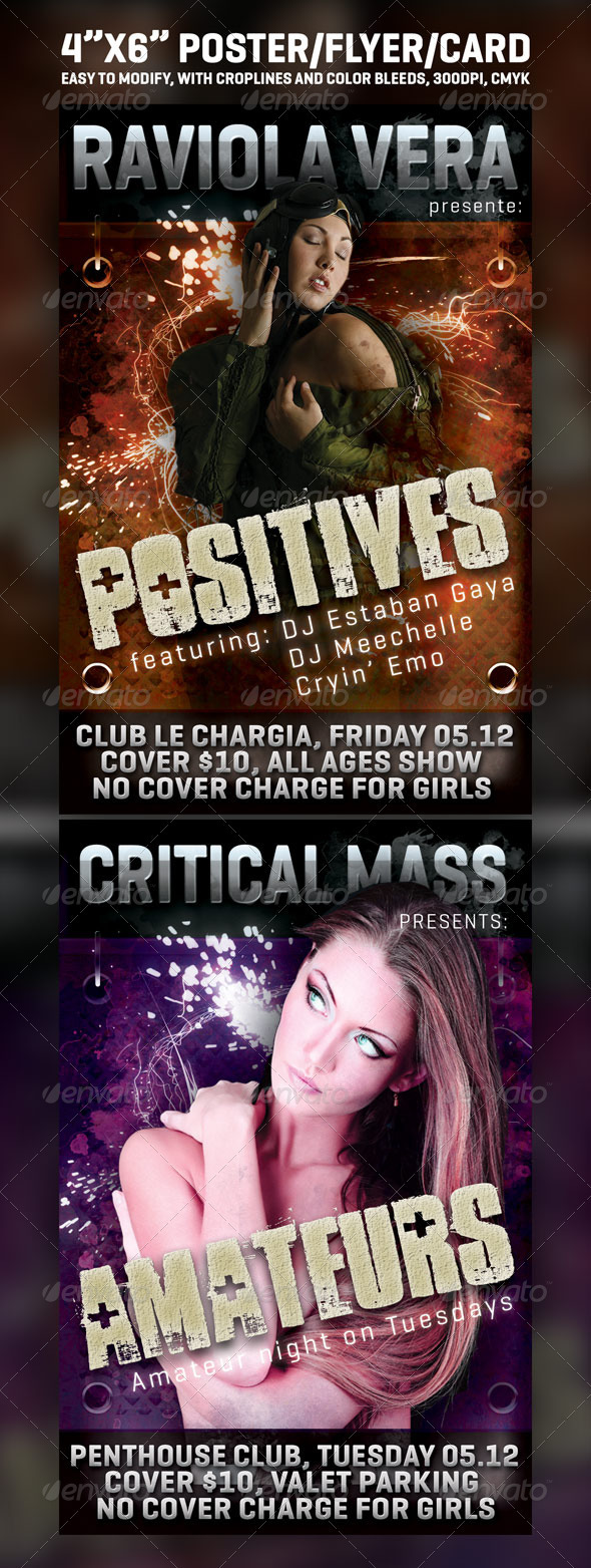 "4""x6"" card / flyer / poster - Clubs & Parties Events"