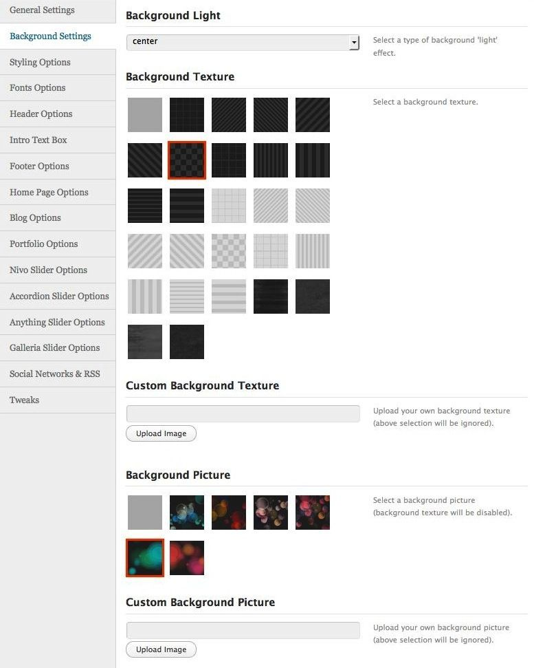 Spicy Theme - Powerful WordPress Theme - Admin Panel - background options.