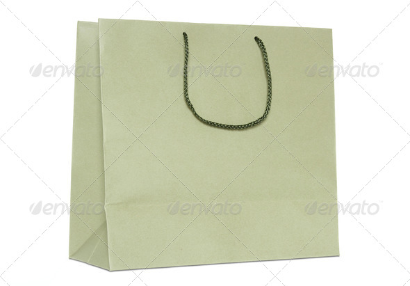 brown shopping bag isolated on white background - Stock Photo - Images