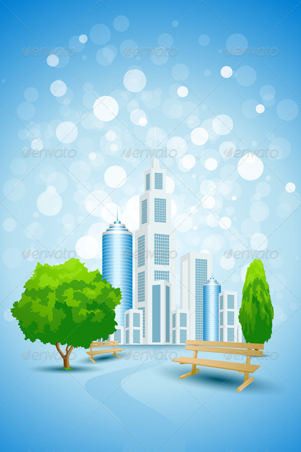 Blue Background with City Landscape Tree and Bench - Backgrounds Business