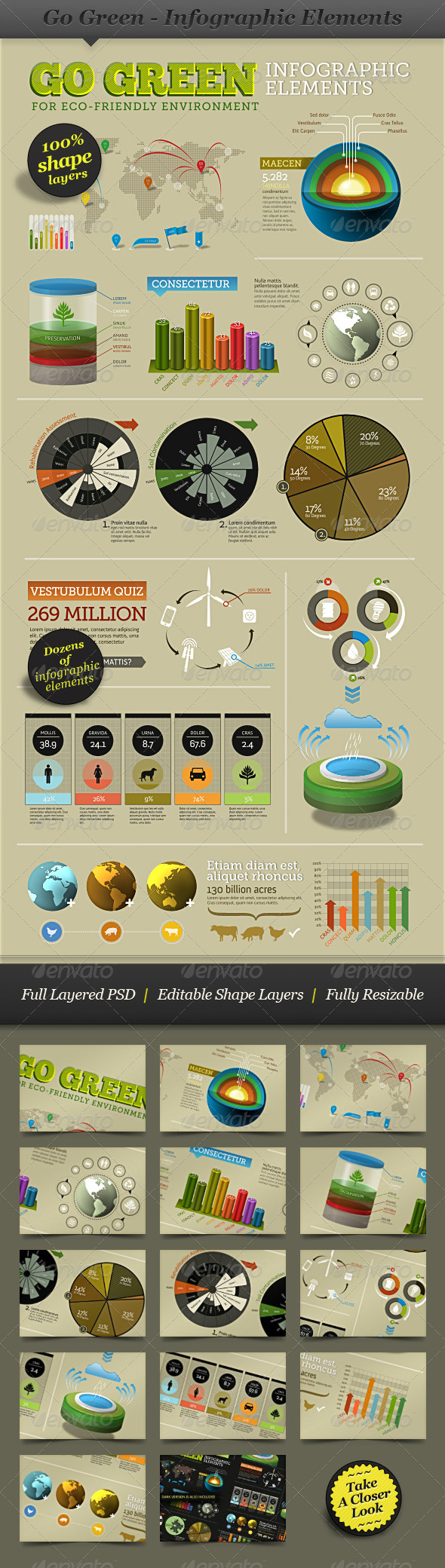 Go Green - Infographic Elements - info template - Infographics