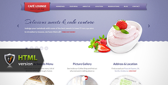 ThemeForest Coffee Lounge Coffee Bar and Bistro HTML Theme Site Templates Entertainment Restaurants & Cafes 2004777