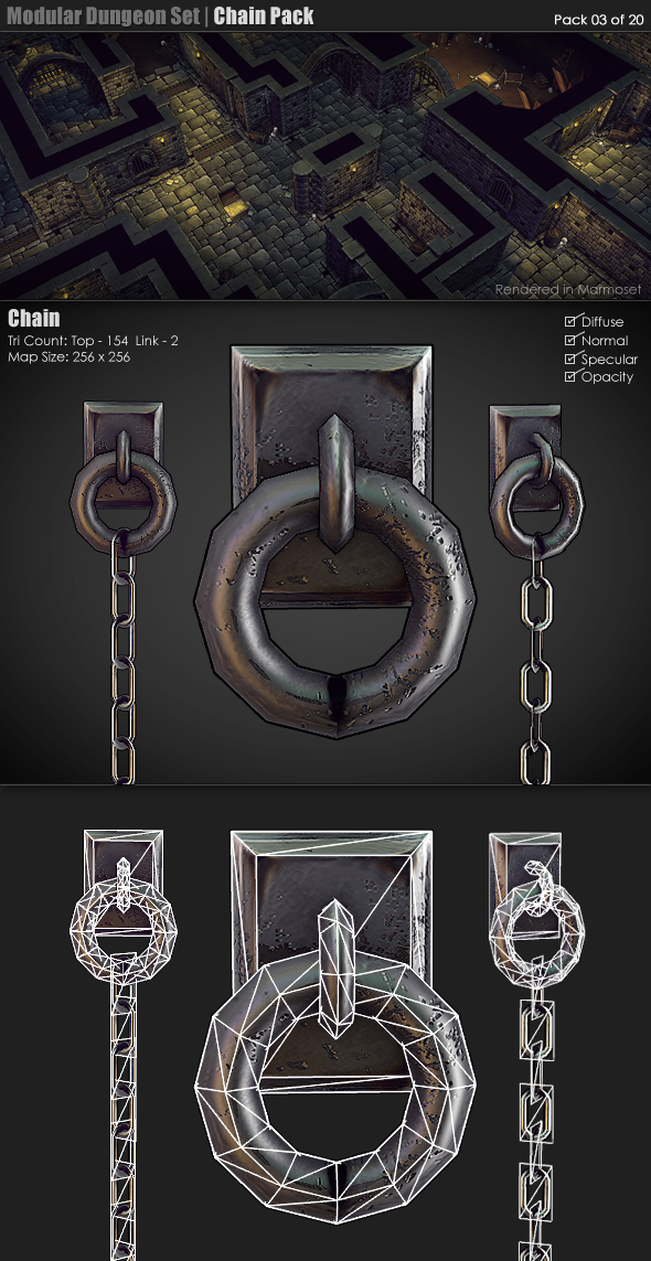 3DOcean Modular Dungeon Set Chain Pack 03 of 20 233348