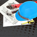Blue Helmet of foreman or guest constructor with blueprints building construction and tools - PhotoDune Item for Sale