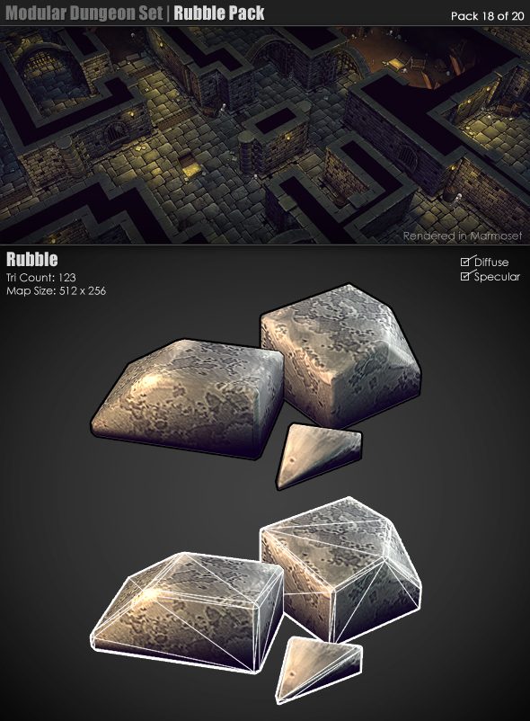 3DOcean Modular Dungeon Set Rubble Pack 18 of 20 233382