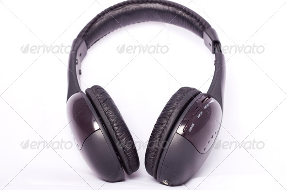 Wireless headphones on white isolated background - Stock Photo - Images