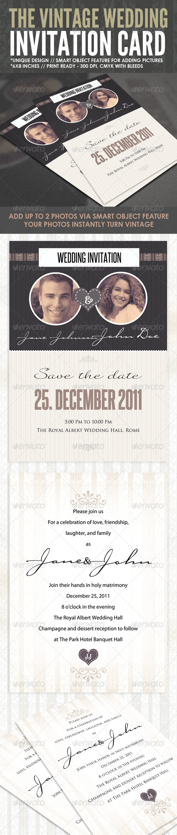 Graphic River The Vintage Wedding Card Print Templates -  Cards & Invites  Weddings 908345