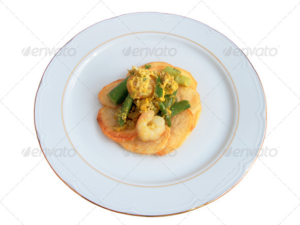 Jumbled garlic shrimp - Stock Photo - Images