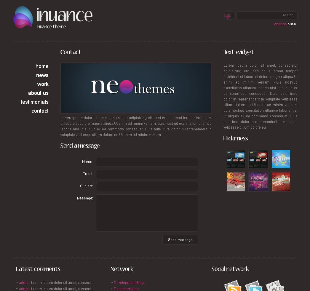 INUANCE - dark pink contact page style theme
