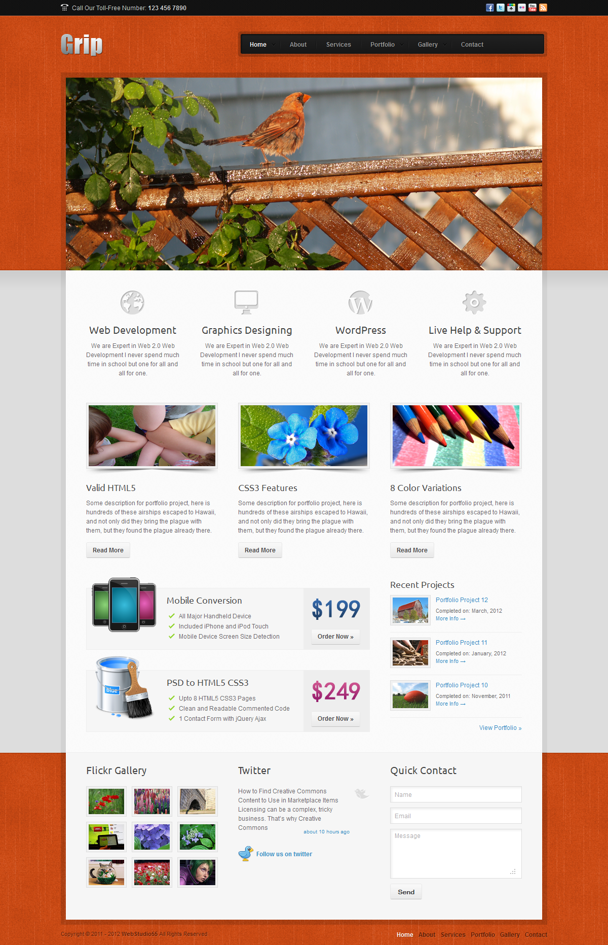 Grip Corporate Business HTML Template - Home Page Orange Grip Corporate Business HTML Template, 8 stylish color skins and clean layout for your Corporate Business, 5 Home Page variations with 3 different Contents Slider, 16 HTML5 SEO Optimized Templates, Filterable Portfolio with 5 styles.