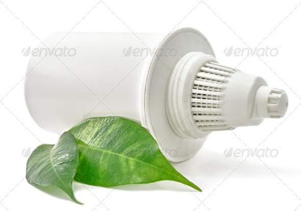 Water Filter cartridge Bio with green leaf on white background - Stock Photo - Images