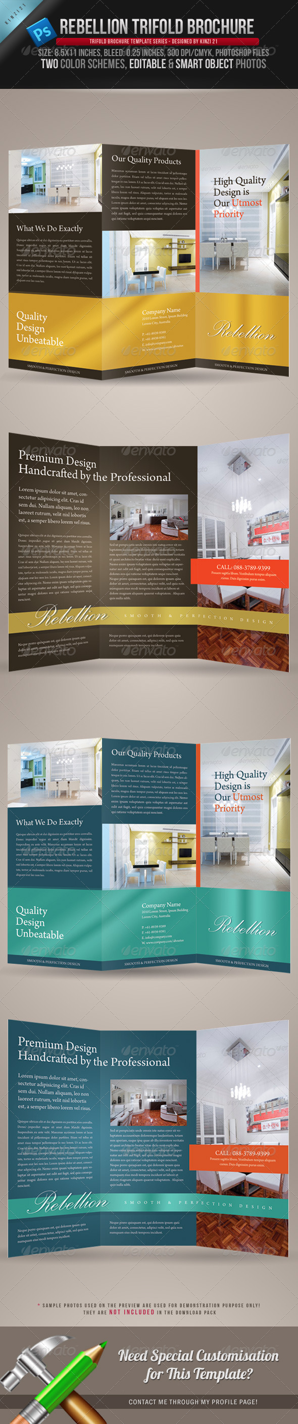 Rebellion Trifold Brochure - PSD Template - Corporate Brochures
