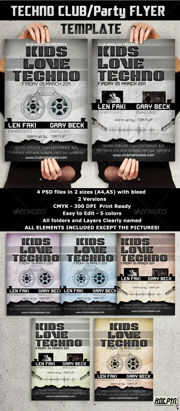 GraphicRiver Techno Party Club Flyers template 234061