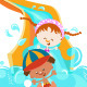 Kids On Water Slide - GraphicRiver Item for Sale