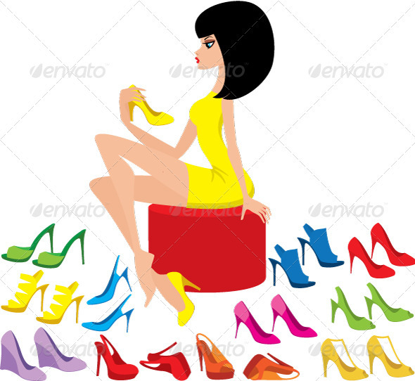 Young woman tries on shoes - Commercial / Shopping Conceptual