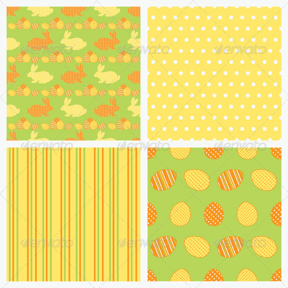 Set of seamless Easter vector paper. - Backgrounds Decorative