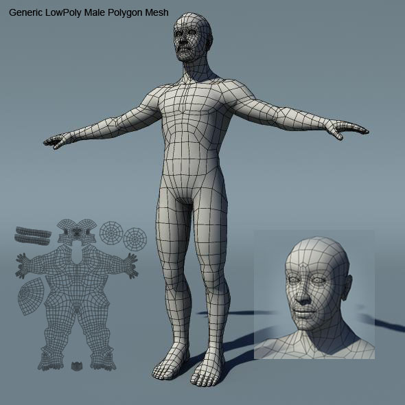 Generic Male Low Poly BaseMesh - 3DOcean Item for Sale