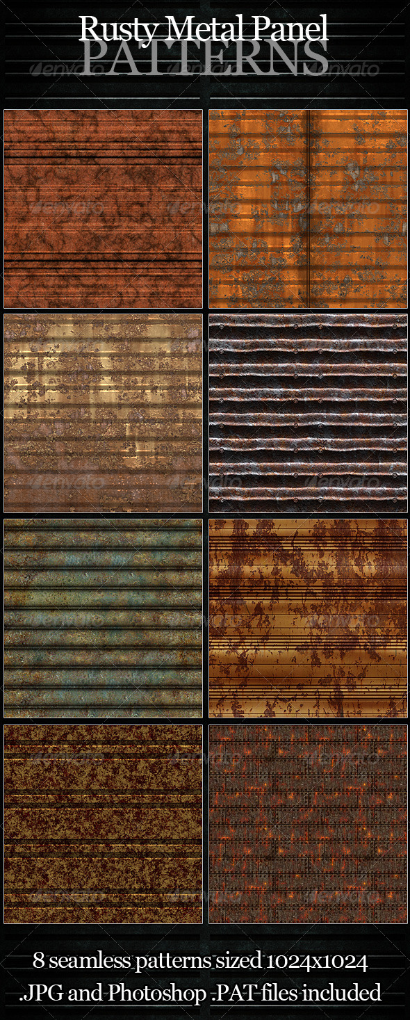 Rusty Metal Panel Patterns - Urban Textures / Fills / Patterns