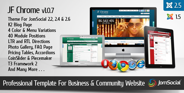 JF Chrome - JomSocial Ready Joomla Template - JF Chrome Preview
