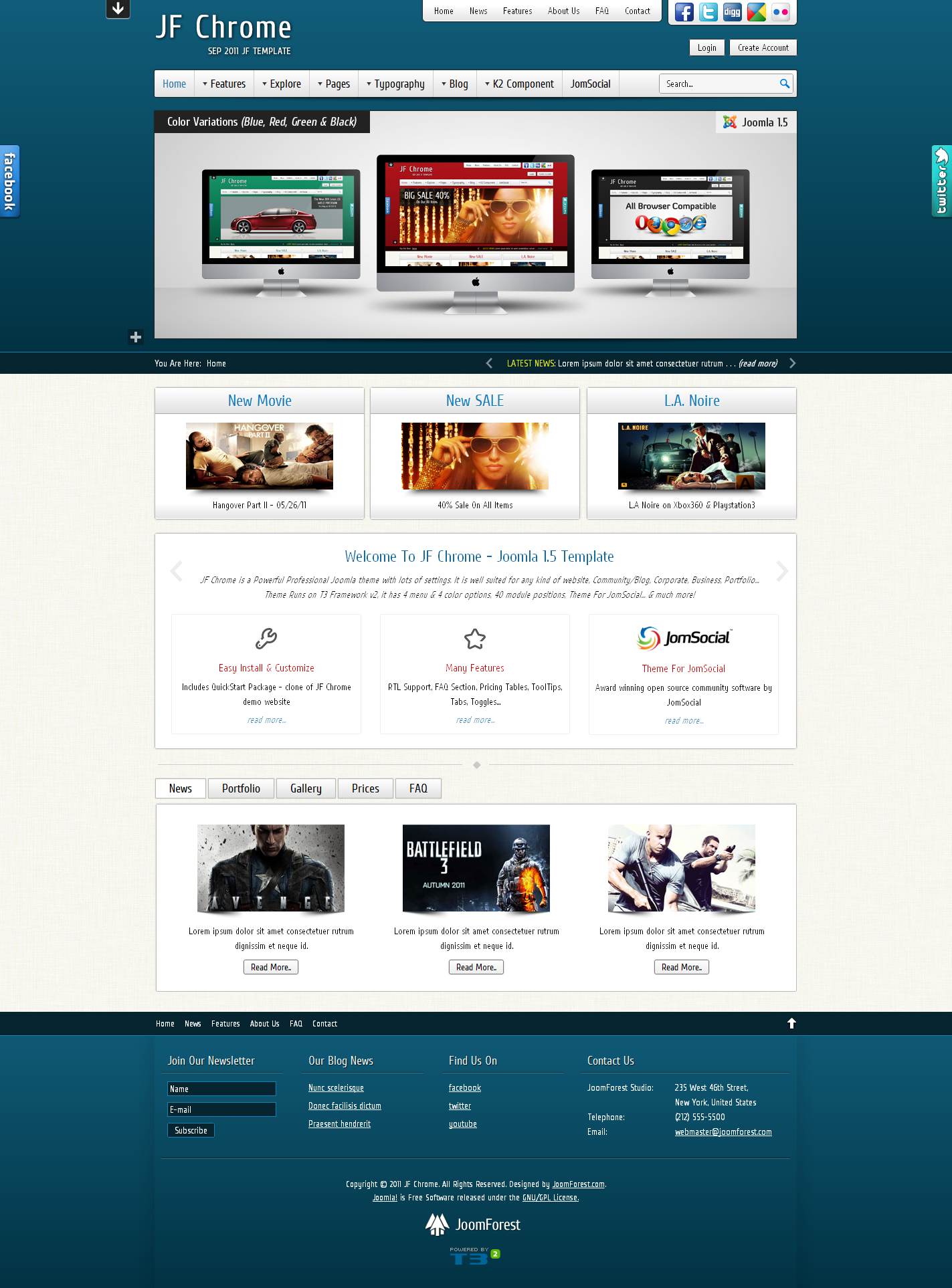 JF Chrome - JomSocial Ready Joomla Template - Blue Theme