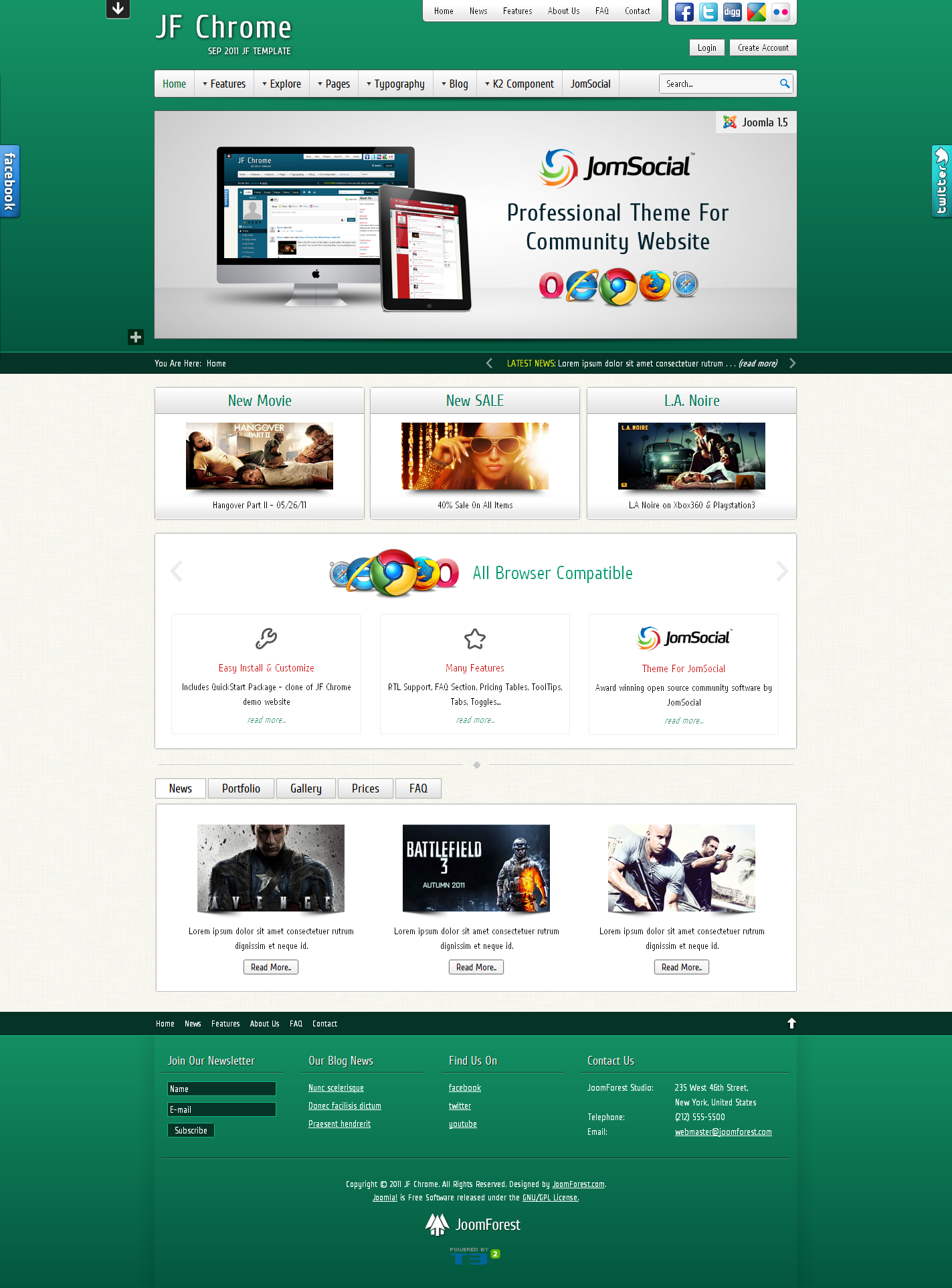 JF Chrome - JomSocial Ready Joomla Template - Green Theme