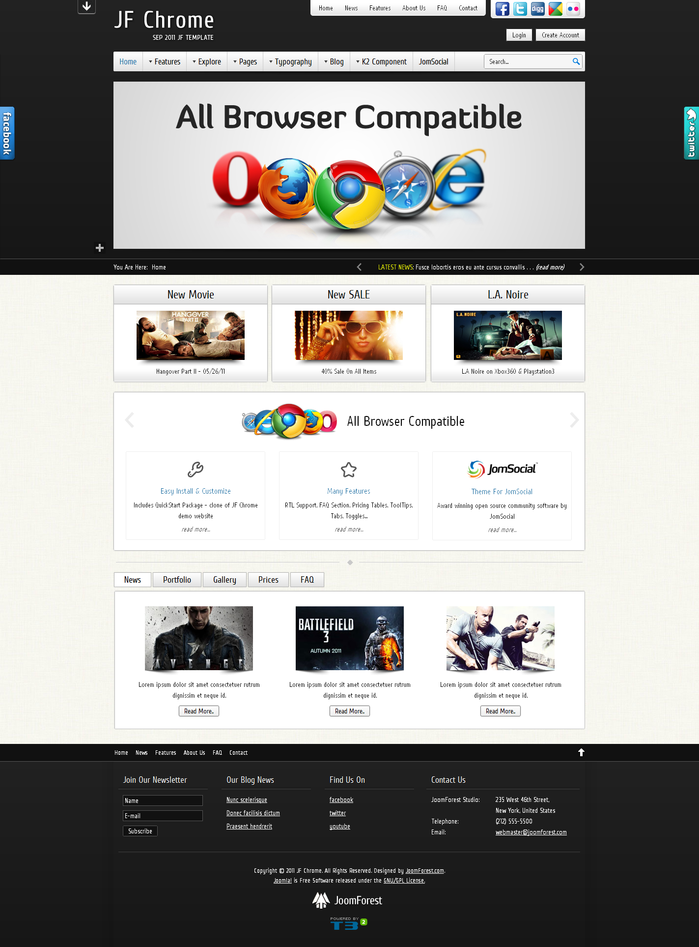 JF Chrome - JomSocial Ready Joomla Template - Black Theme