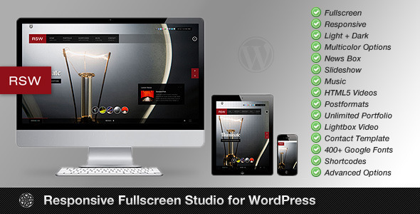 Responsive Fullscreen Studio wordpress theme download