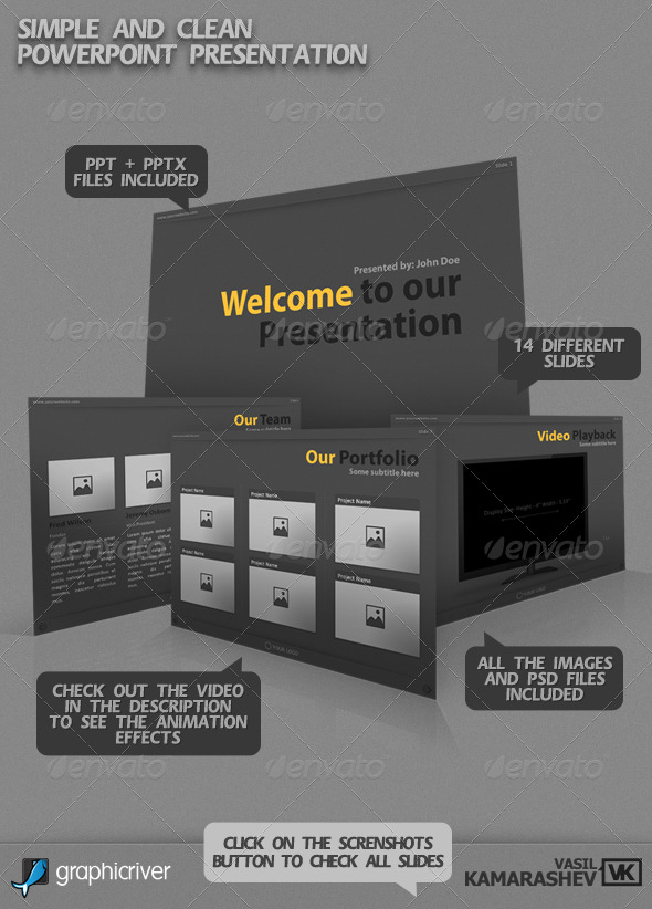 GraphicRiver Simple and Clean PowerPoint Presentation 235652