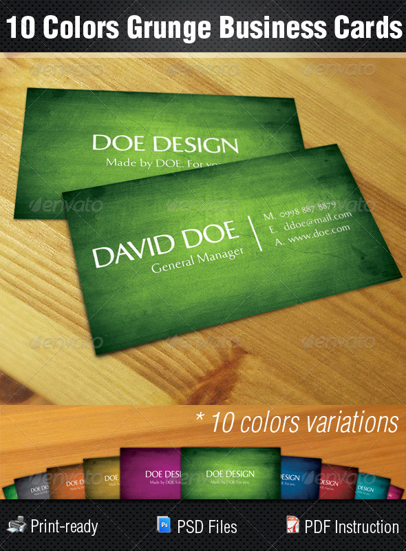 10 Colors Grunge Business Cards - Corporate Business Cards