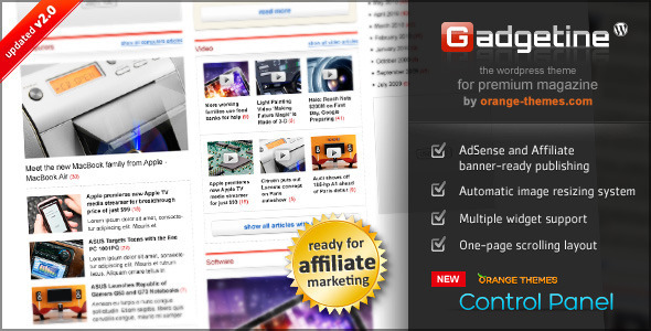 Gadgetine Wordpress Theme for Premium Magazine - News / Editorial Blog / Magazine