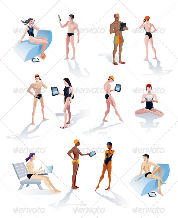 Twelve Swimmers With Digital Tablets And Smartphon - People Characters