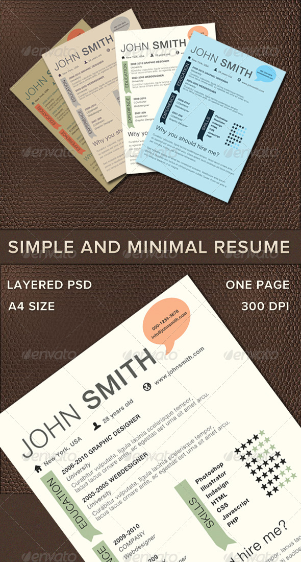 GraphicRiver Simple And Minimal Resume 236386