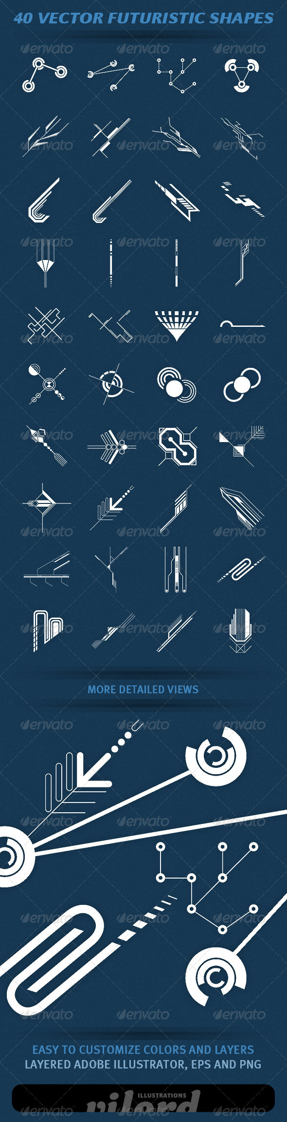 40 Vector Futuristic Shapes - Decorative Symbols Decorative