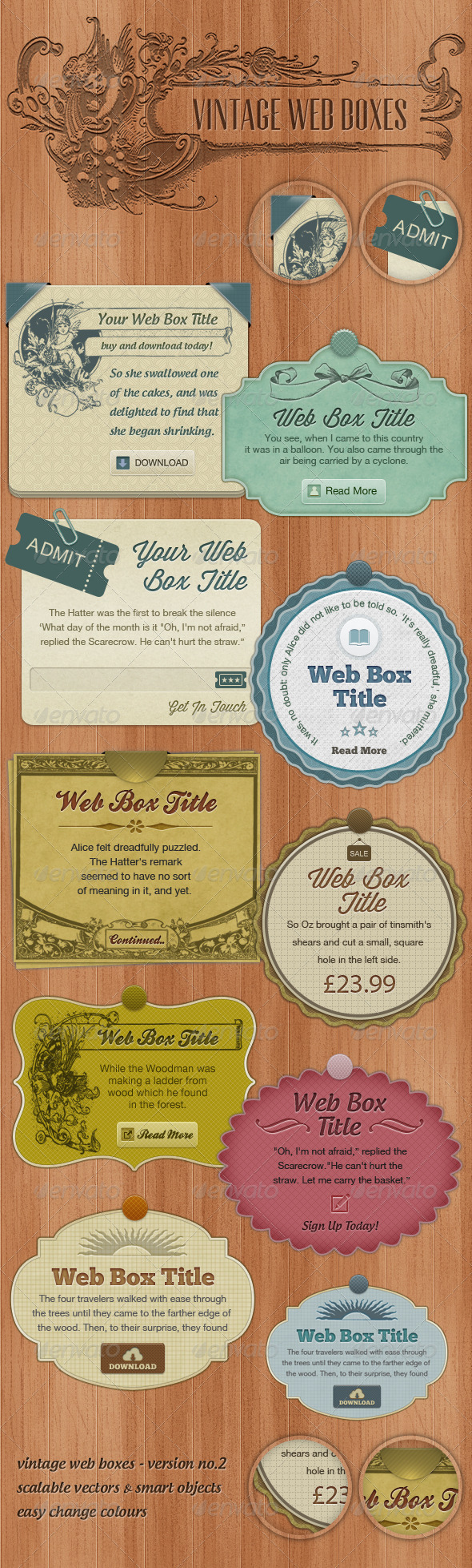 Vintage Web Boxes #2  - Miscellaneous Web Elements