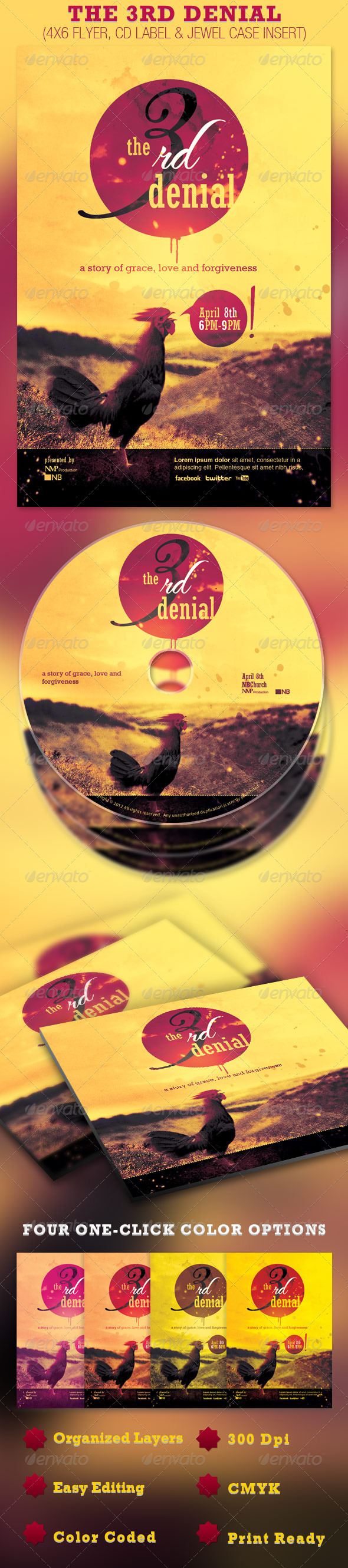The Third Denial Flyer and CD Template - Church Flyers