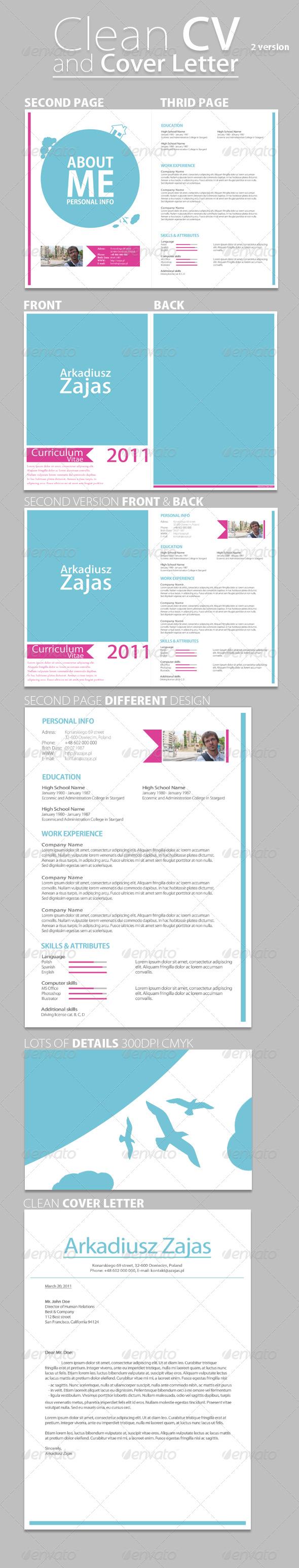 GraphicRiver Clean CV & Cover Letter 236478