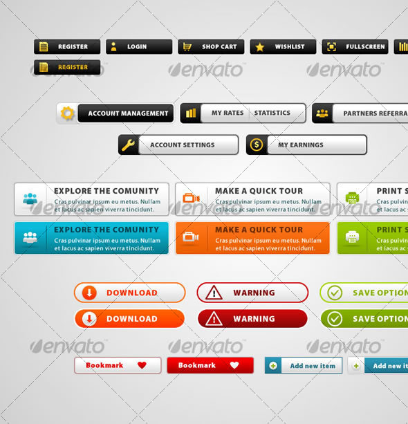 GraphicRiver 19 web button modern style collection 45001