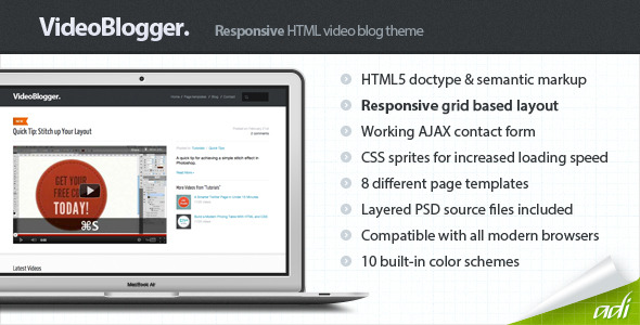 VideoBlogger - Responsive HTML Video Blog Theme - VideoBlogger - Video Blog HTML Template