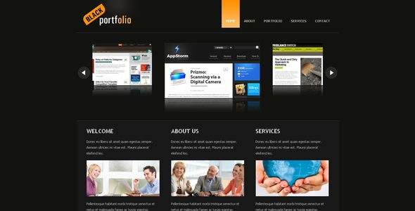 Black Portfolio Drupal 6 Template - Drupal CMS Themes