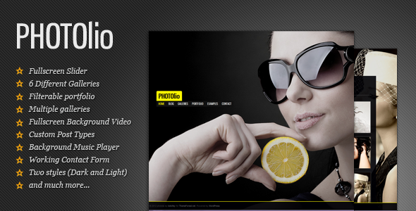 Photolio Photography Theme Wordpress Themeforest